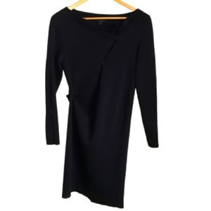 COS Navy Snap Buttons Minimalist Contemporary Asymetrical Wool Midi Dress SzXS